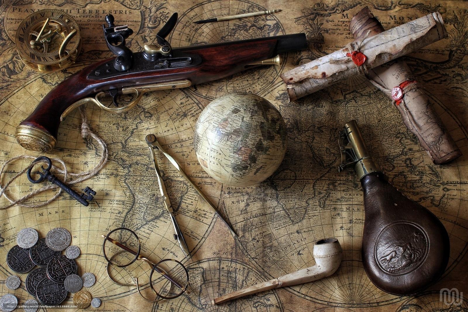 scaricare gli sfondi pistole,  carte,  globo,  compasso Sfondi gratis per la risoluzione del desktop 1920x1280 — immagine №613986