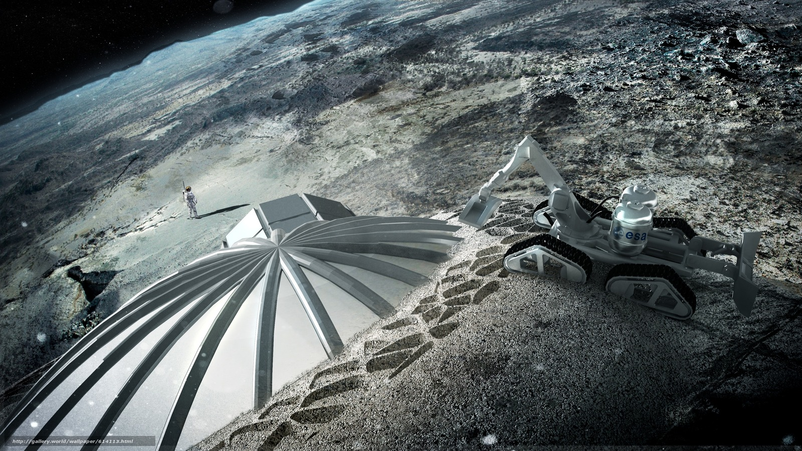 Скачать обои Луна,  Космос,  дом,  спутник бесплатно для рабочего стола в разрешении 2976x1674 — картинка №614113