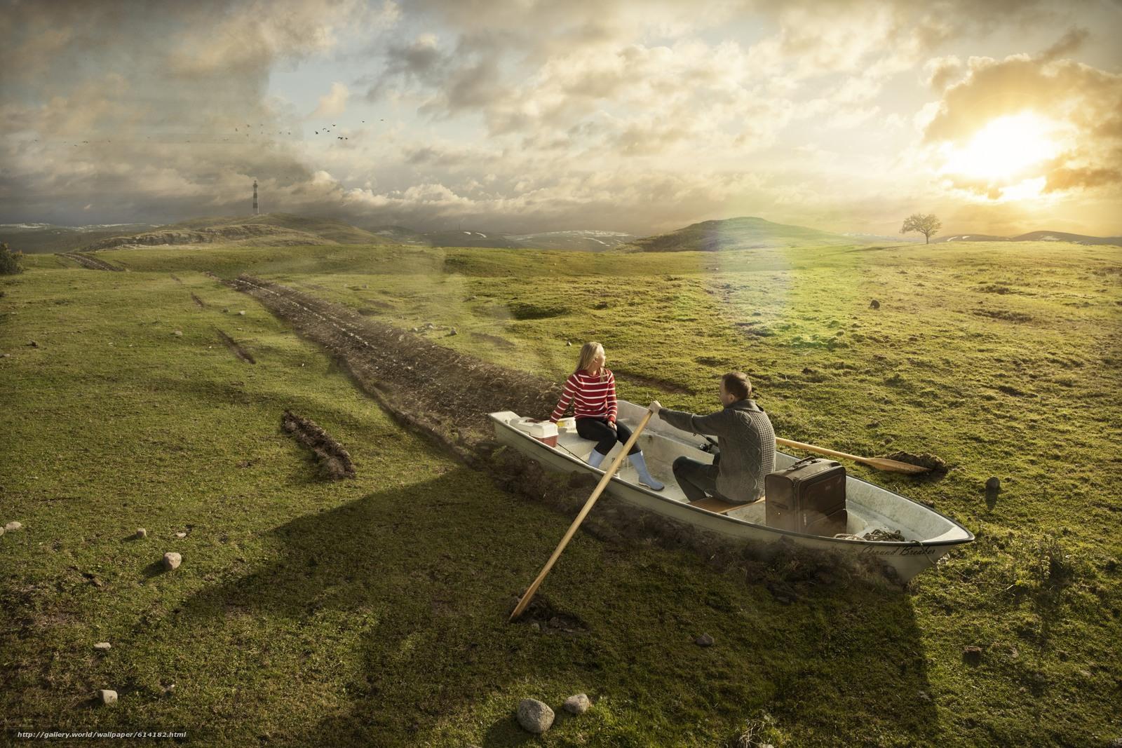 Скачать обои прикол,  юмор,  лодка,  вёсла бесплатно для рабочего стола в разрешении 2700x1800 — картинка №614182