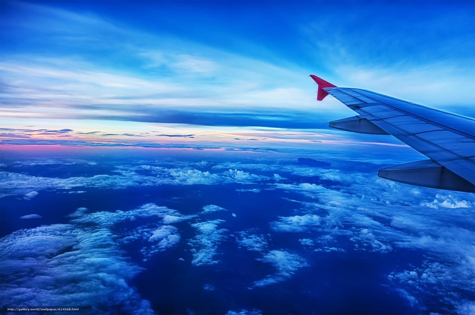 Скачать обои под крылом самолёта,  самолёт,  крыло,  небо бесплатно для рабочего стола в разрешении 1920x1273 — картинка №614258