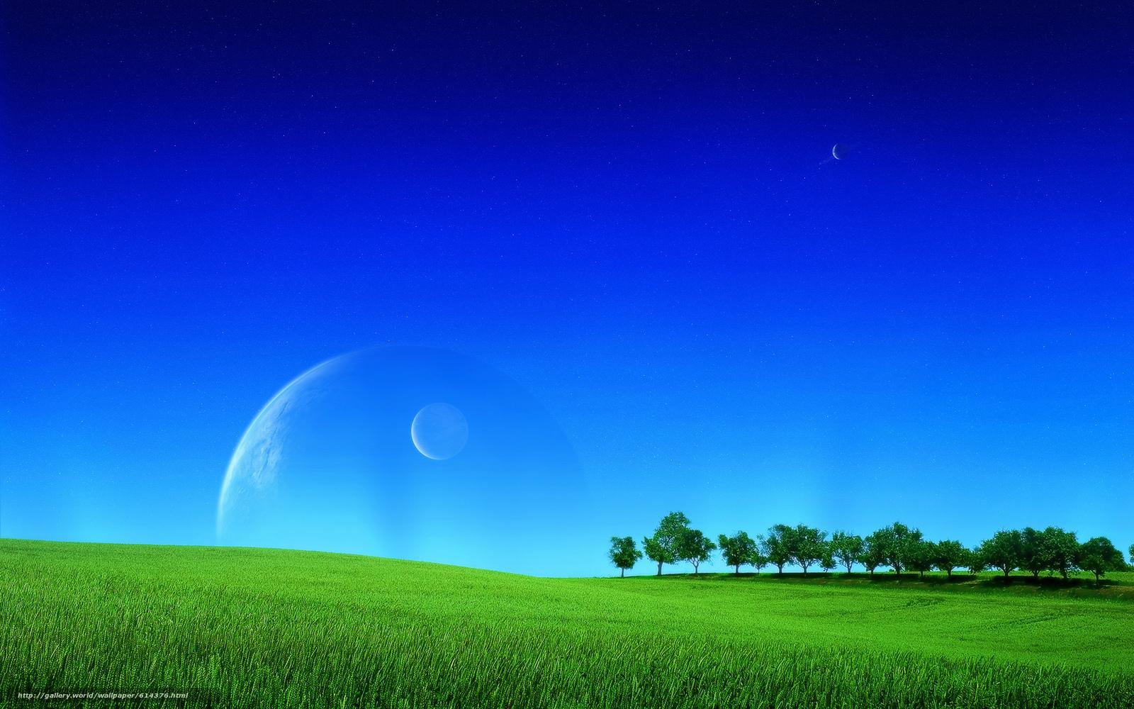Скачать обои поле,  небо,  деревья,  планеты бесплатно для рабочего стола в разрешении 1920x1200 — картинка №614376