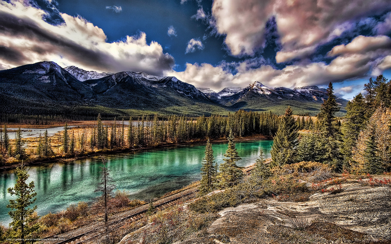 Download wallpaper Bow river,  Canada,  Mountains,  river free desktop wallpaper in the resolution 1920x1200 — picture №614692