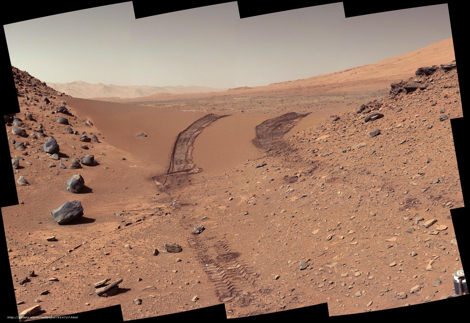 Скачать обои Марс,  фото,  след,  Кириосити бесплатно для рабочего стола в разрешении 4890x3361 — картинка №614727