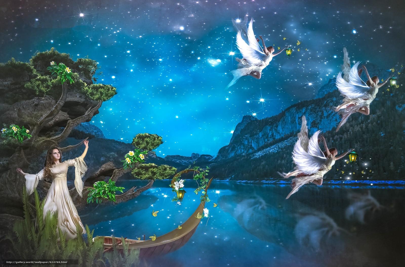 Preferenza scaricare gli sfondi angeli, notte, fata, Angeli Sfondi gratis per  HJ25