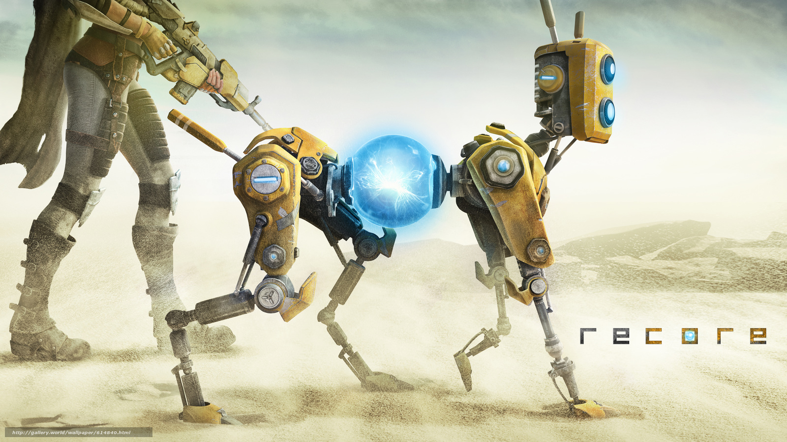 download wallpaper recore, robot, girl, sand free desktop wallpaper