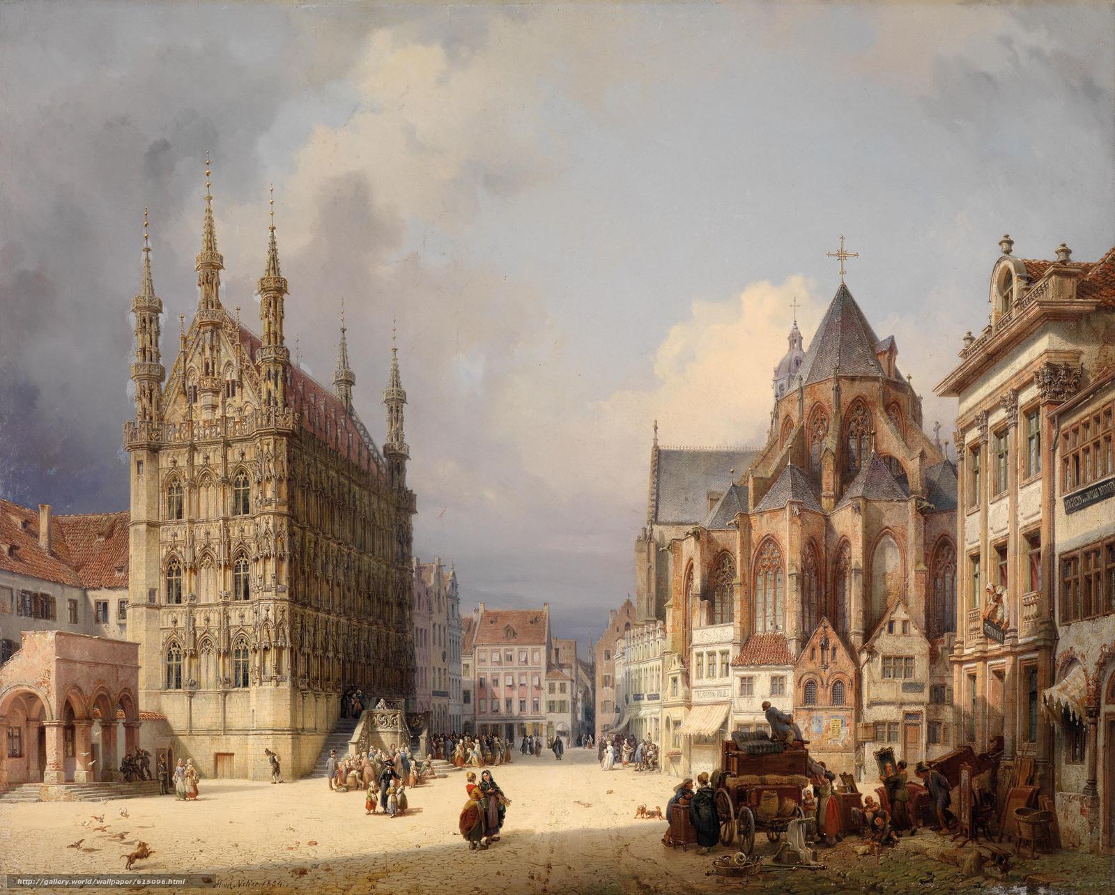 Скачать обои Рыночная площадь,  Лёвен,  1854,  Австрия бесплатно для рабочего стола в разрешении 2500x2006 — картинка №615096