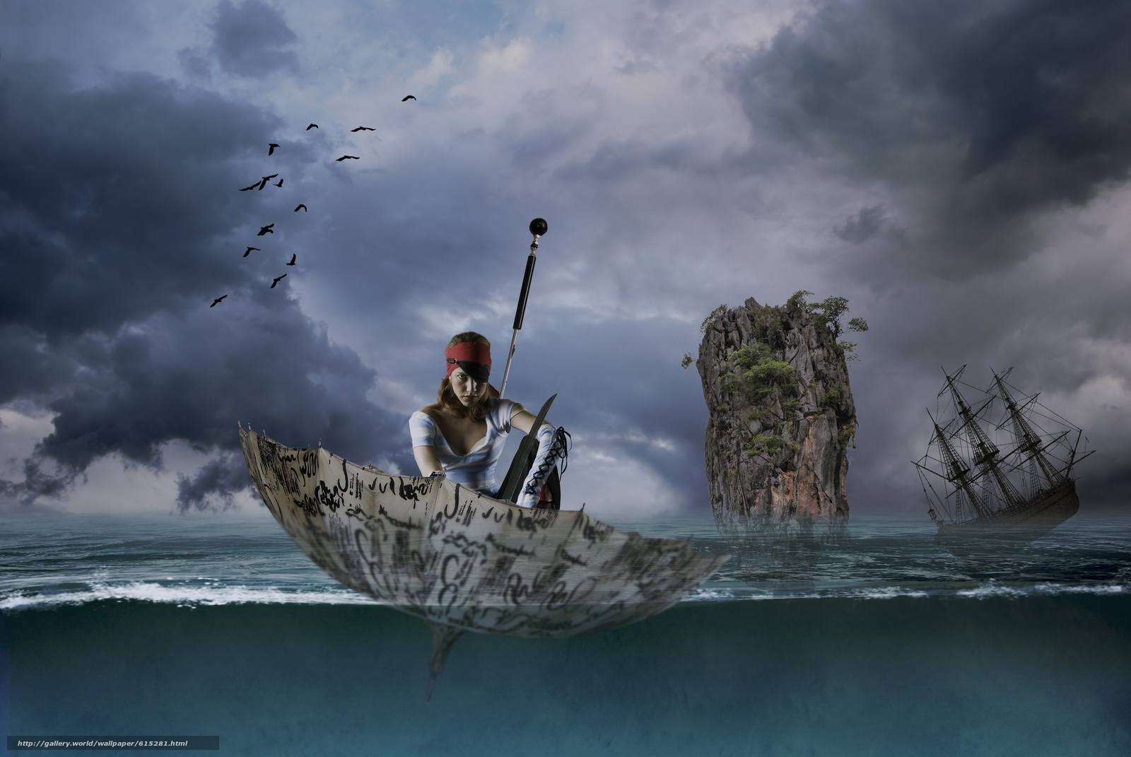 Скачать обои девушка,  пират,  зонтик,  зонт бесплатно для рабочего стола в разрешении 3872x2592 — картинка №615281