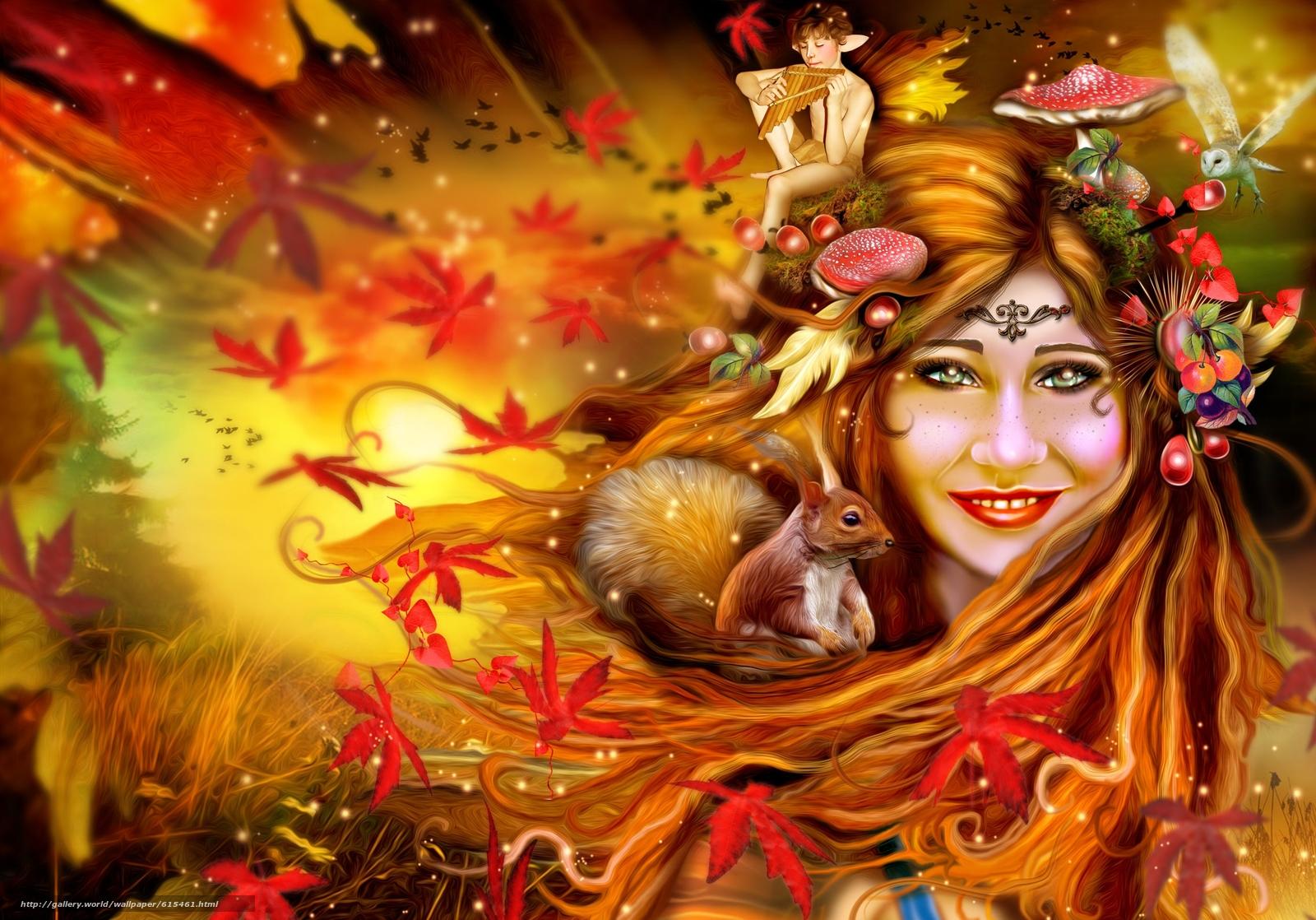 Картинки девушка осень фентази