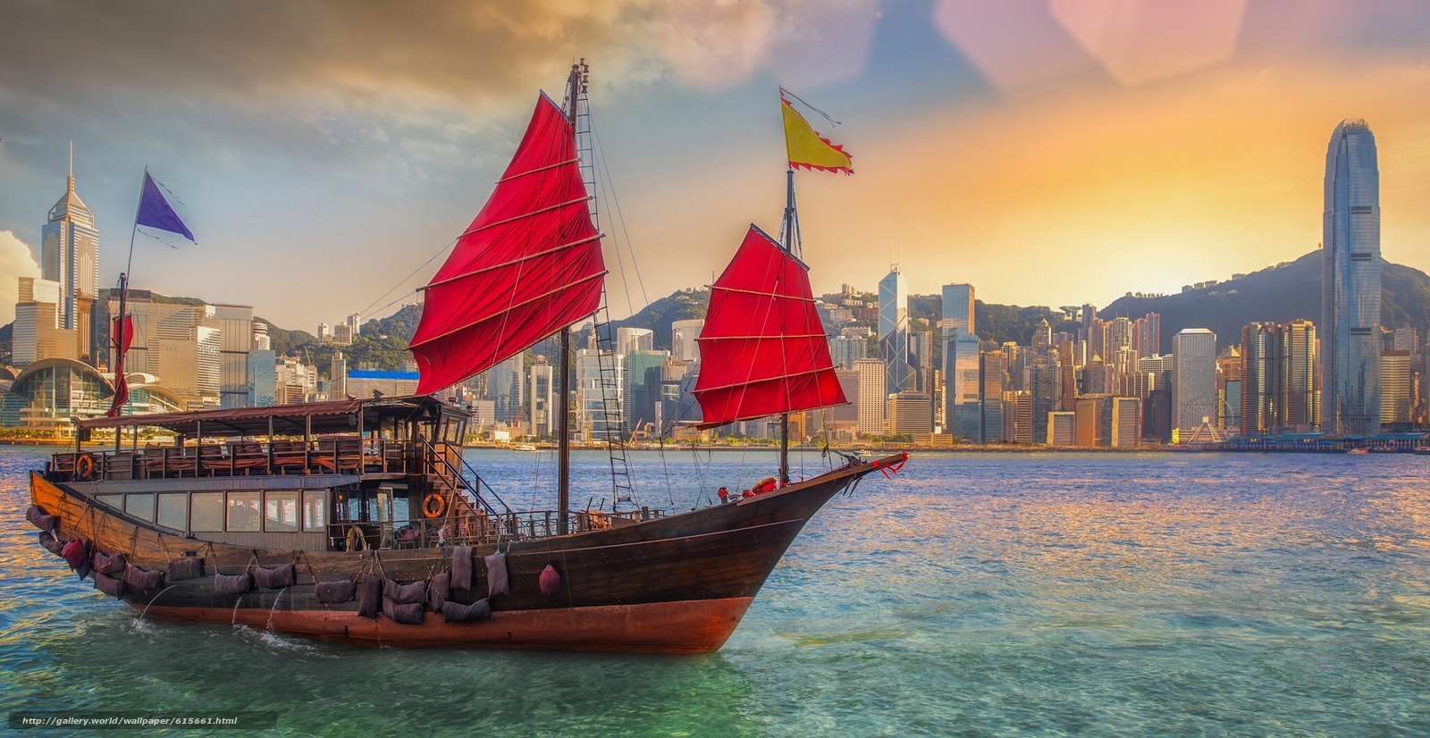 Download wallpaper Victoria Harbour,  Hong Kong,  China,  Victoria Bay free desktop wallpaper in the resolution 2091x1080 — picture №615661