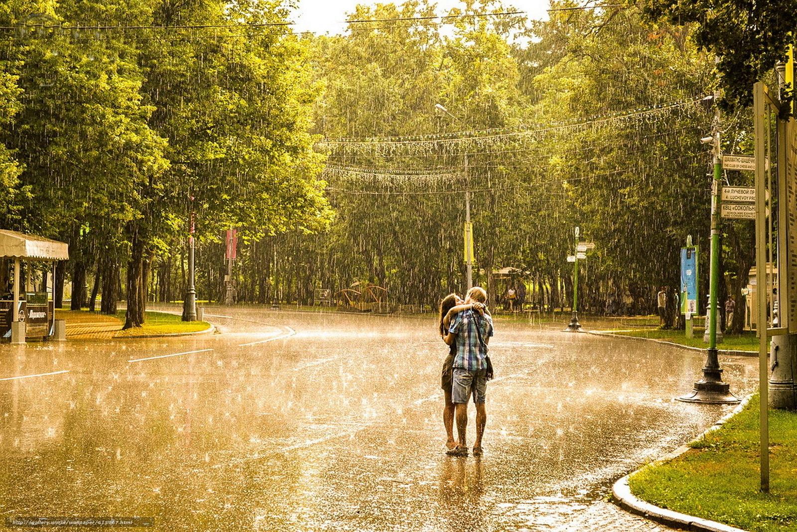Скачать обои дождь,  девушка,  мужчина,  любовь бесплатно для рабочего стола в разрешении 1920x1282 — картинка №615967