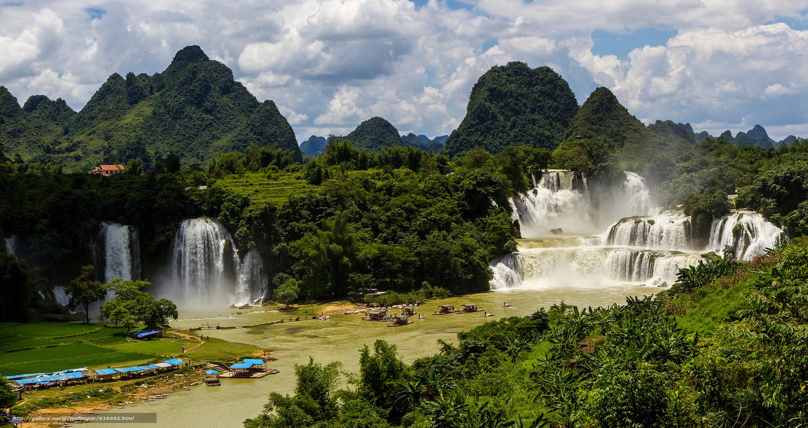Descargar gratis cascada,  Cataratas ban gioc detian,  bosque,  río Fondos de escritorio en la resolucin 2048x1086 — imagen №616052