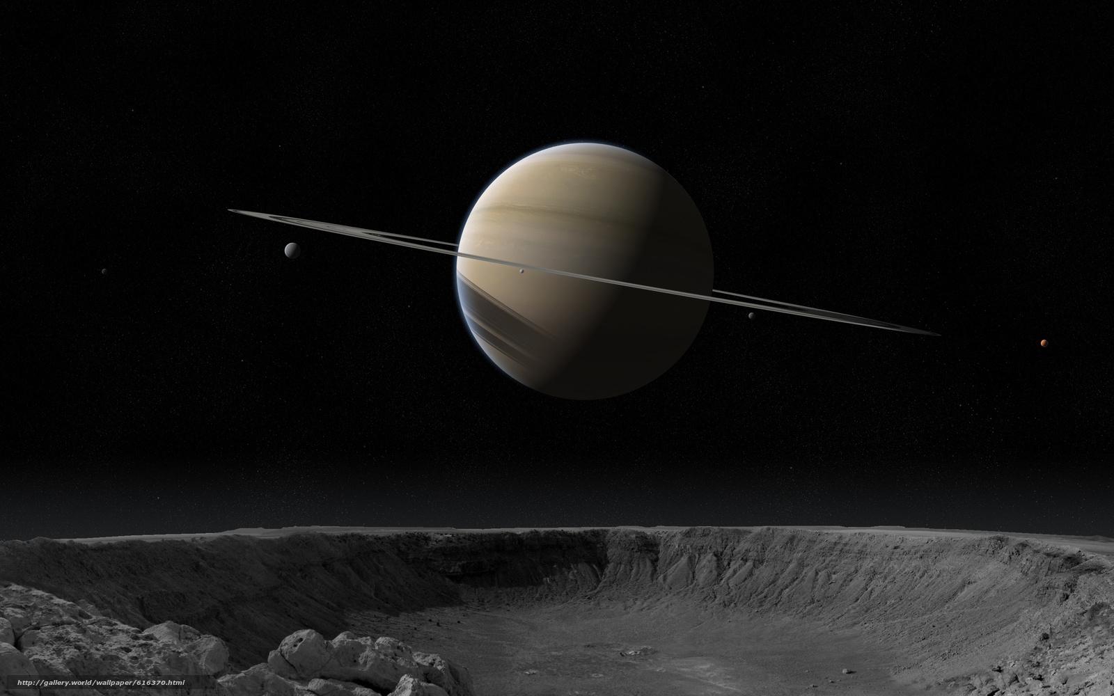 Скачать обои Сатурн,  планета,  спутник,  кратер бесплатно для рабочего стола в разрешении 4000x2500 — картинка №616370