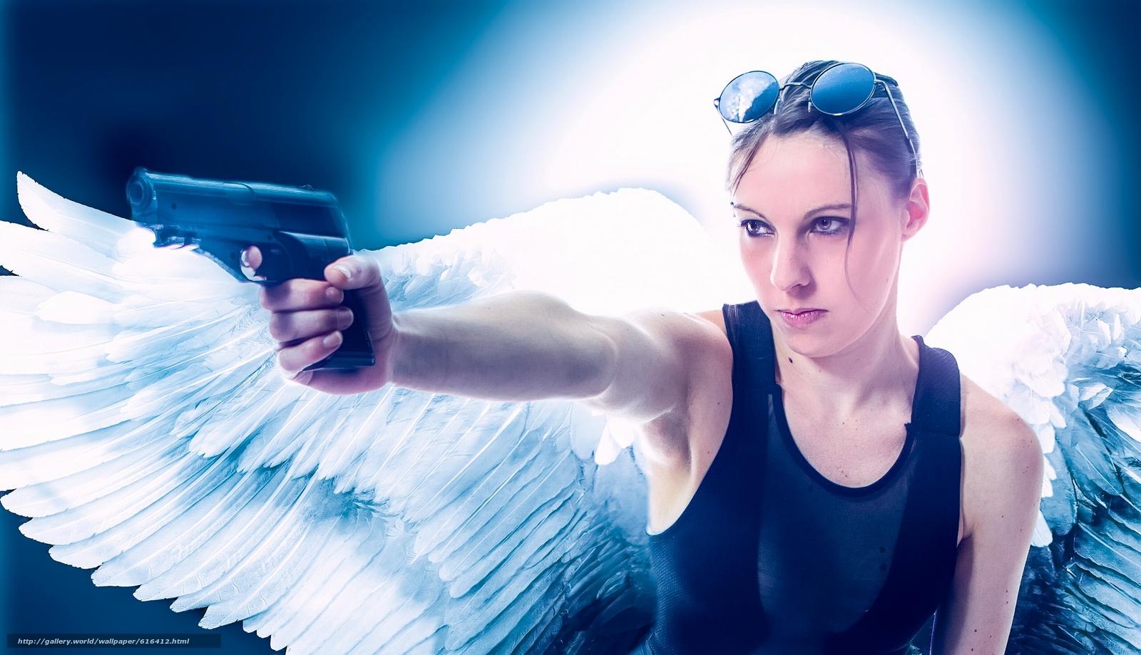 Baixar Wallpaper menina,  anjo,  asas,  pistola Papis de parede grtis na resoluo 2560x1470 — quadro №616412