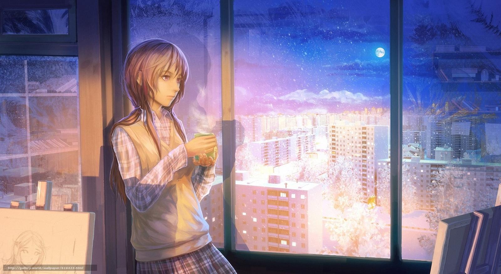 Download wallpaper tea,  girl,  city,  window free desktop wallpaper in the resolution 1970x1080 — picture №616423
