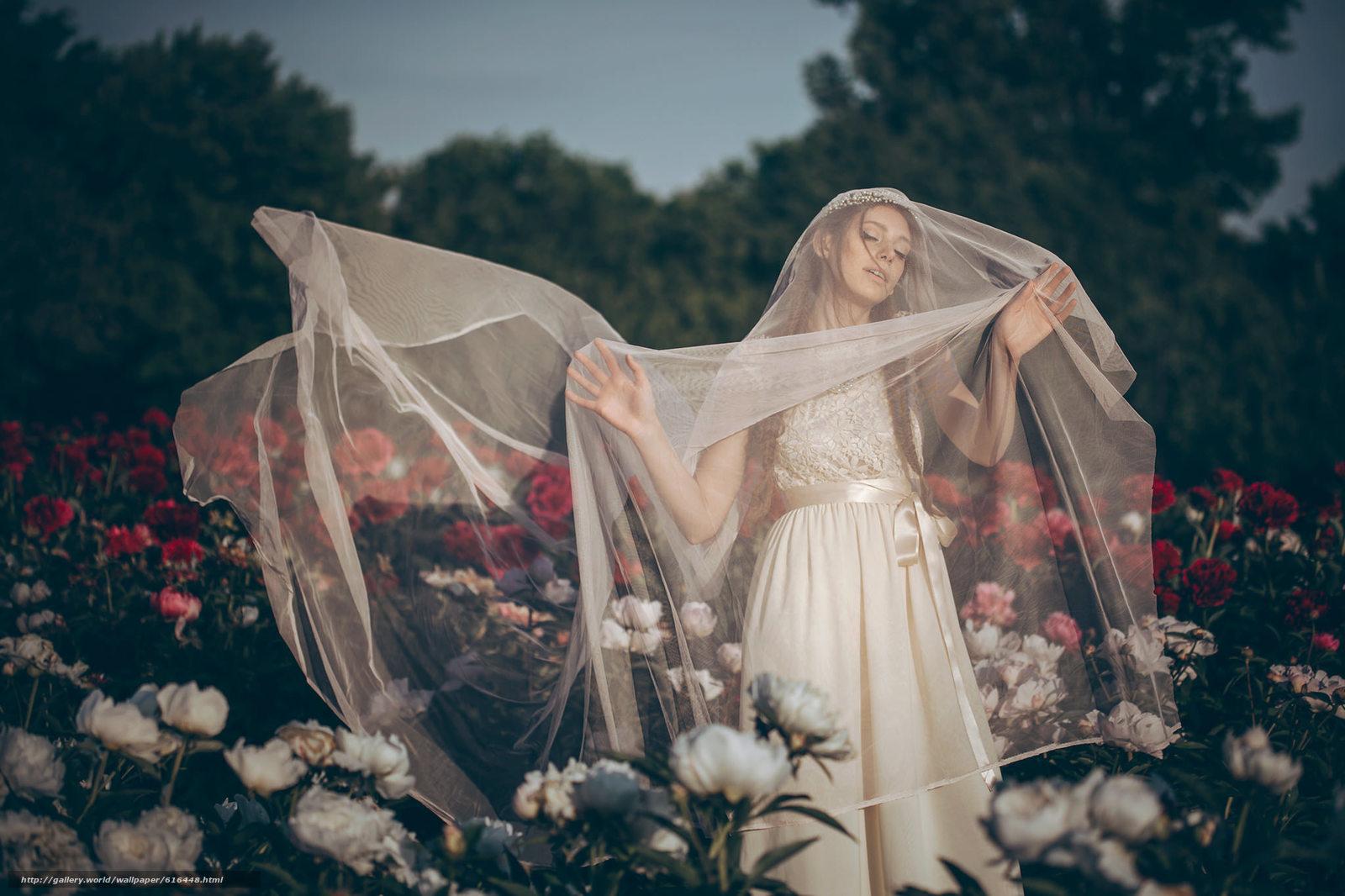 Скачать обои невеста,  свадебное платье,  фата,  настроение бесплатно для рабочего стола в разрешении 2048x1365 — картинка №616448