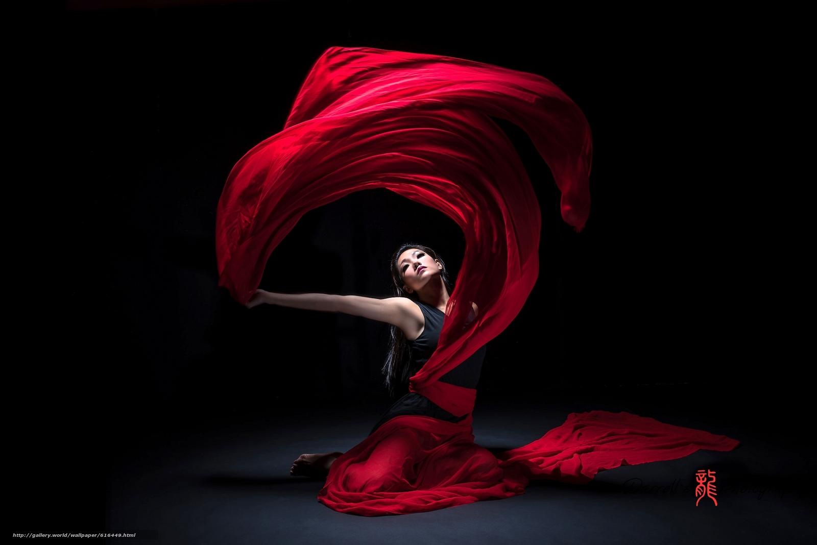 Скачать обои девушка,  азиатка,  танец,  материя бесплатно для рабочего стола в разрешении 2048x1367 — картинка №616449