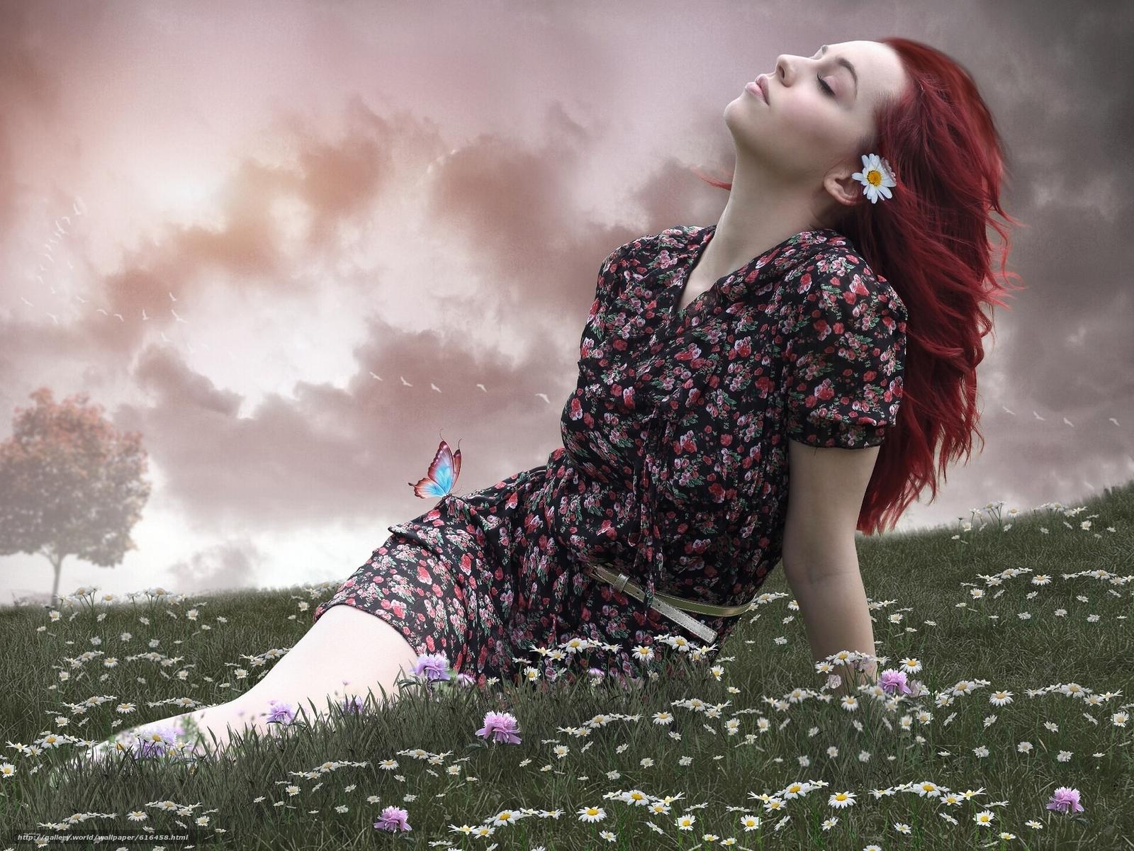 Скачать обои девушка,  настроение,  луг,  цветы бесплатно для рабочего стола в разрешении 1920x1441 — картинка №616458