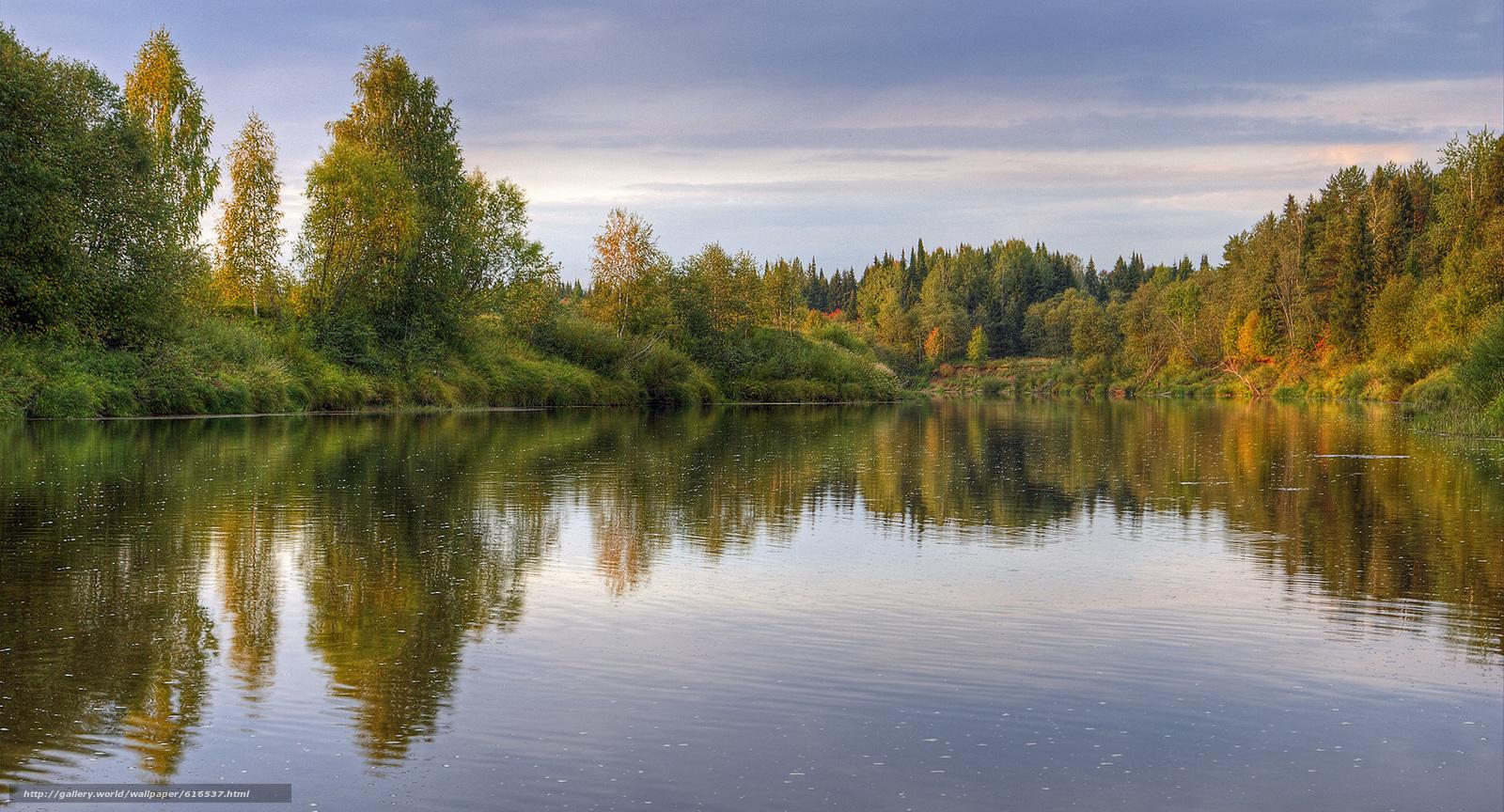 Скачать обои Природа,  озеро,  лес,  небо бесплатно для рабочего стола в разрешении 2000x1080 — картинка №616537