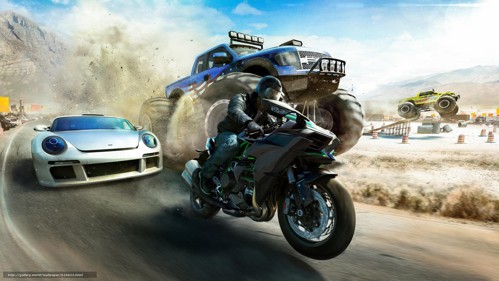 scaricare gli sfondi L'equipaggio: Selvaggio Run,  gara,  motociclista,  macchinario Sfondi gratis per la risoluzione del desktop 2500x1407 — immagine №616622