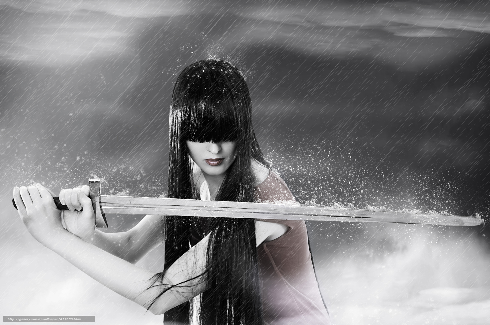Download wallpaper sword,  rain,  girl,  brunette free desktop wallpaper in the resolution 8576x5696 — picture №617053