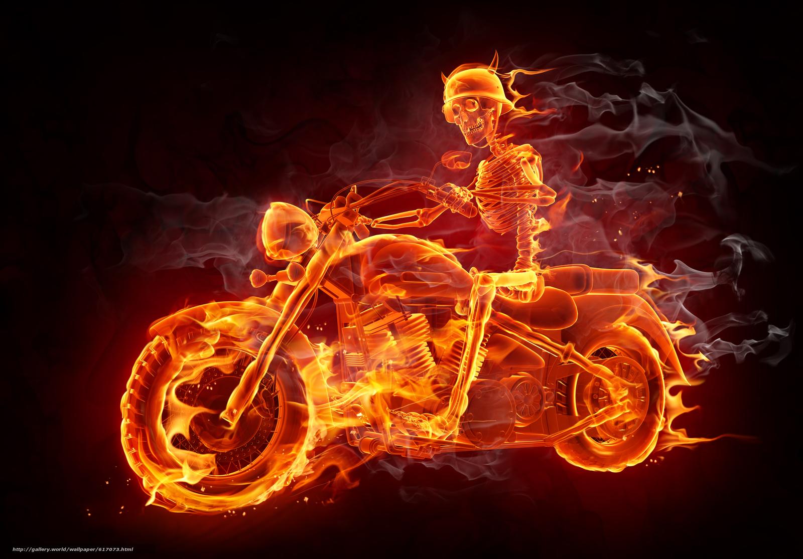 Скачать обои Fire,  Smoke,  Biker бесплатно для рабочего стола в разрешении 5465x3809 — картинка №617073