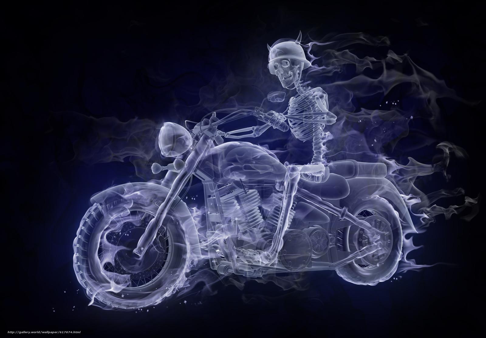 Скачать обои Fire,  Smoke,  Biker бесплатно для рабочего стола в разрешении 5465x3809 — картинка №617074