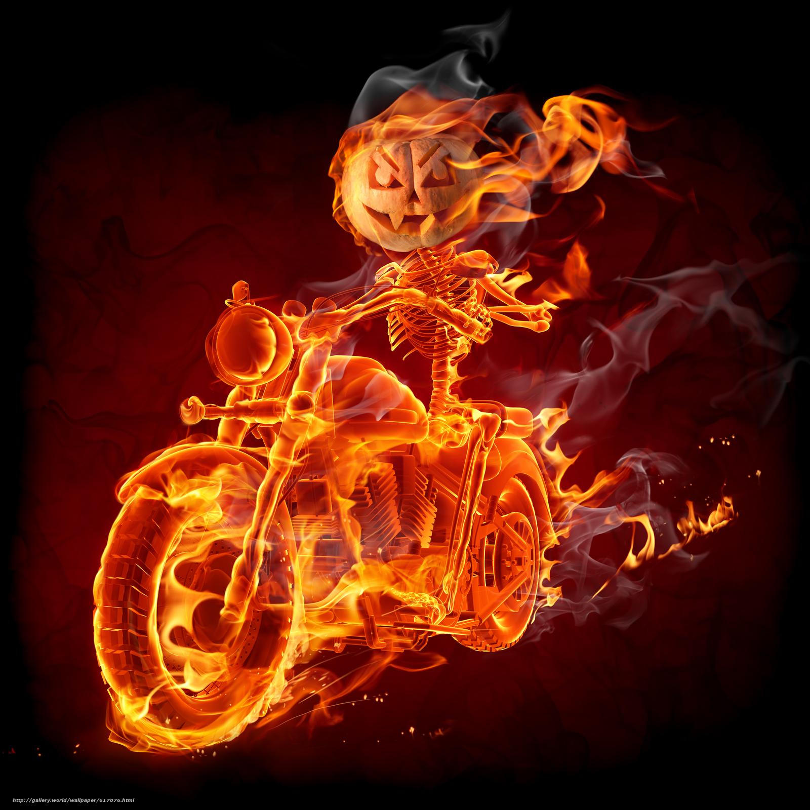 Скачать обои Fire,  Smoke,  Biker бесплатно для рабочего стола в разрешении 4554x4554 — картинка №617076