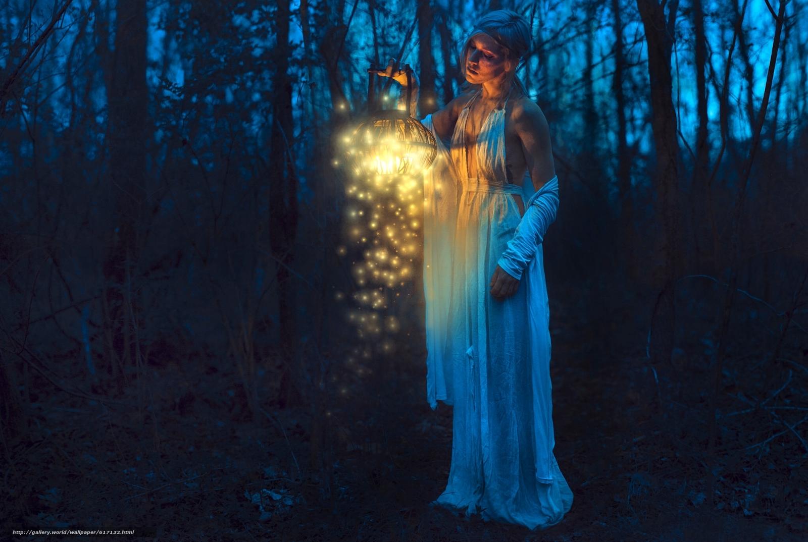 Descargar gratis chica,  linterna,  noche,  bosque Fondos de escritorio en la resolucin 2048x1375 — imagen №617132