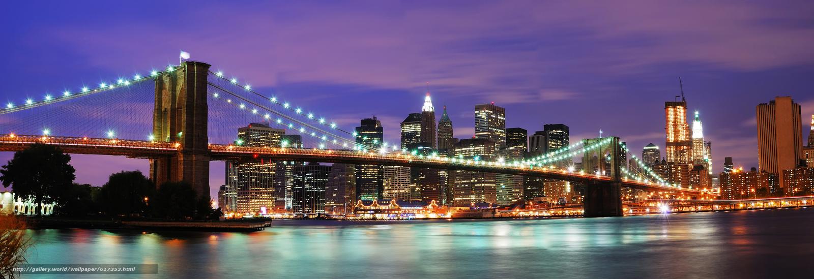 Tlcharger fond d 39 ecran brooklyn bridge nuit new york for Foto new york notte