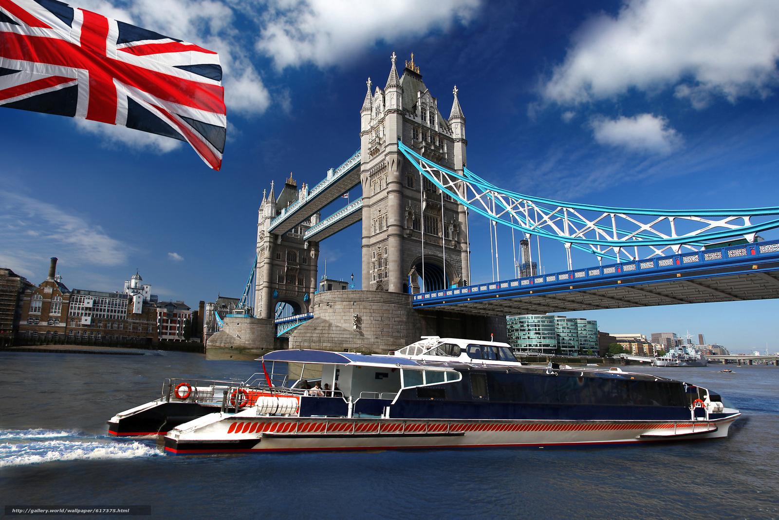 scaricare gli sfondi Britannico,  bandiera,  motonave,  Tower Bridge Sfondi gratis per la risoluzione del desktop 6236x4158 — immagine №617375