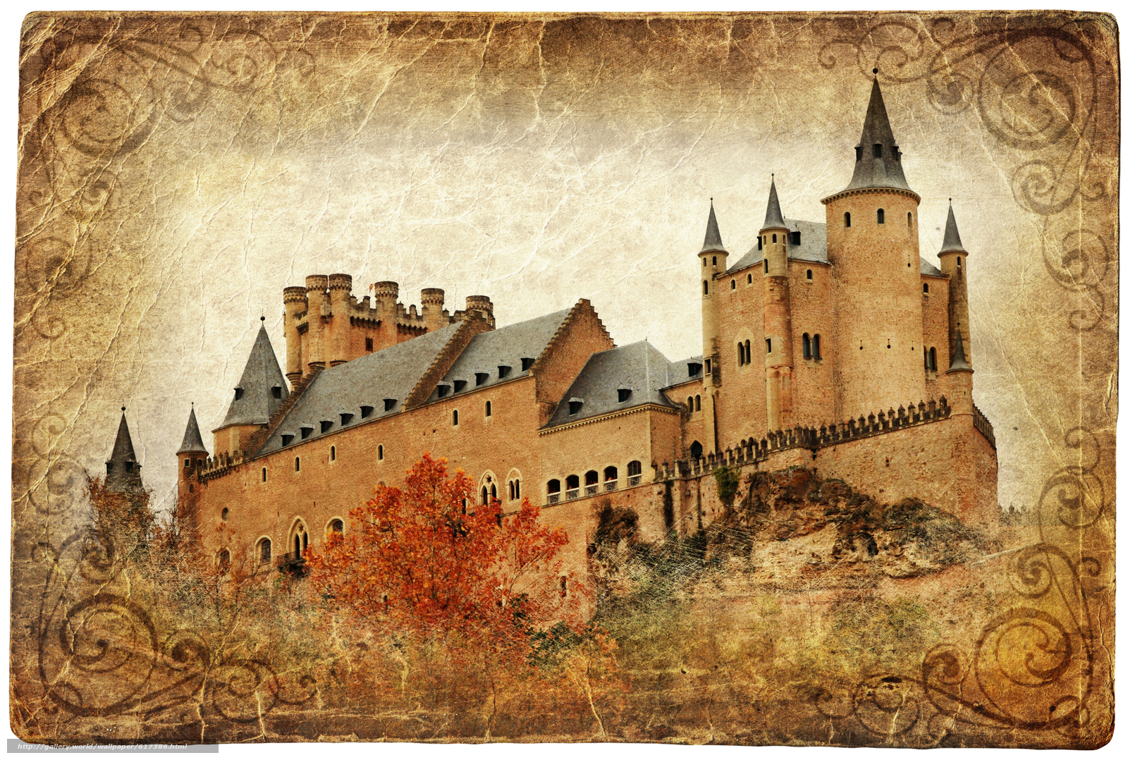 Download wallpaper Alcazar castle,  Segovia,  Spain,  vintage free desktop wallpaper in the resolution 6084x4100 — picture №617386