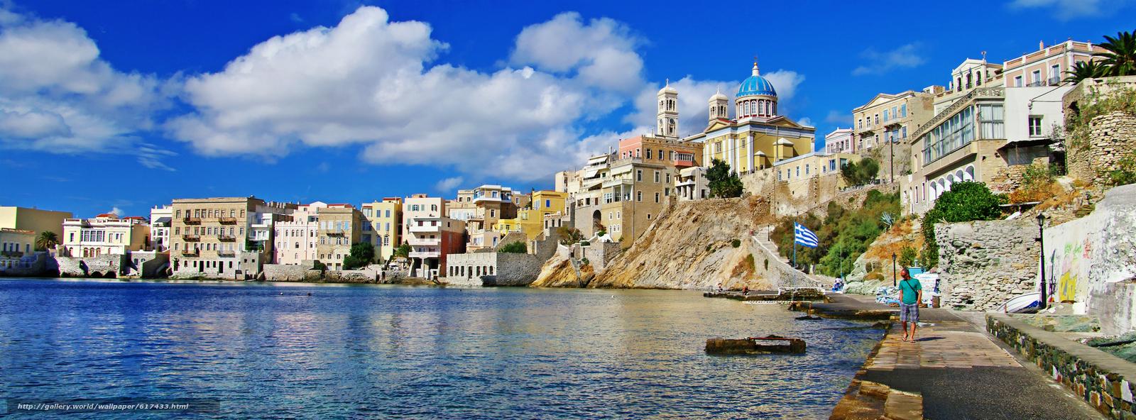 scaricare gli sfondi Costa,  Ermoupolis,  Isola di Syros,  Grecia Sfondi gratis per la risoluzione del desktop 4672x1728 — immagine №617433