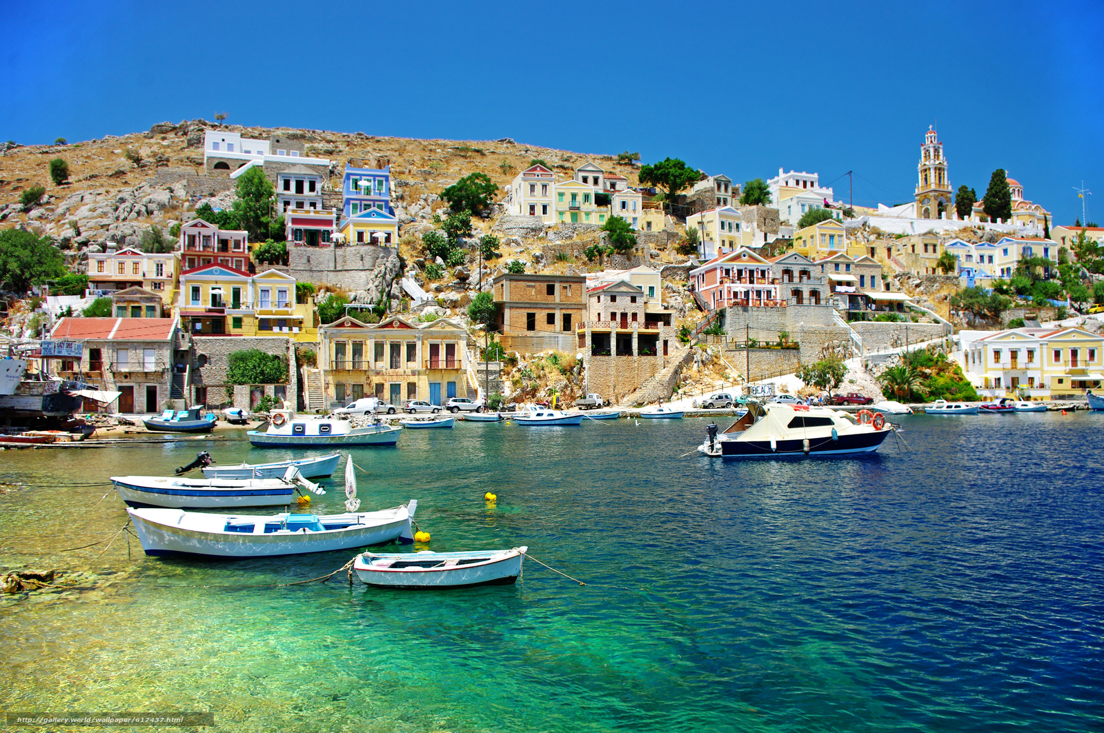 Download wallpaper Coast,  boats,  Harbor,  Symi island free desktop wallpaper in the resolution 4672x3104 — picture №617437