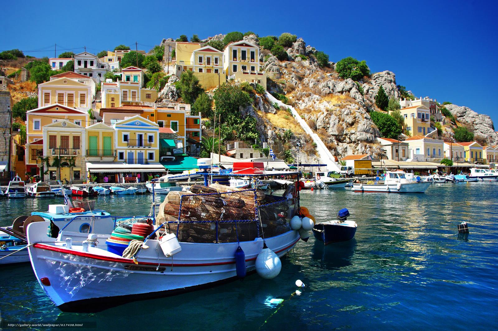 scaricare gli sfondi Costa,  barche,  Porto,  Symi island Sfondi gratis per la risoluzione del desktop 4672x3104 — immagine №617438