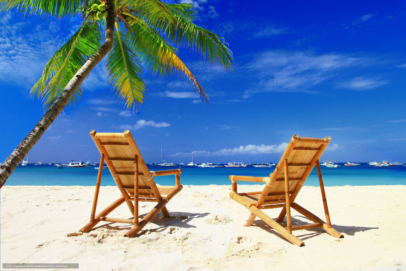 Download wallpaper chairs,  beach,  palms,  boats free desktop wallpaper in the resolution 5181x3454 — picture №617463