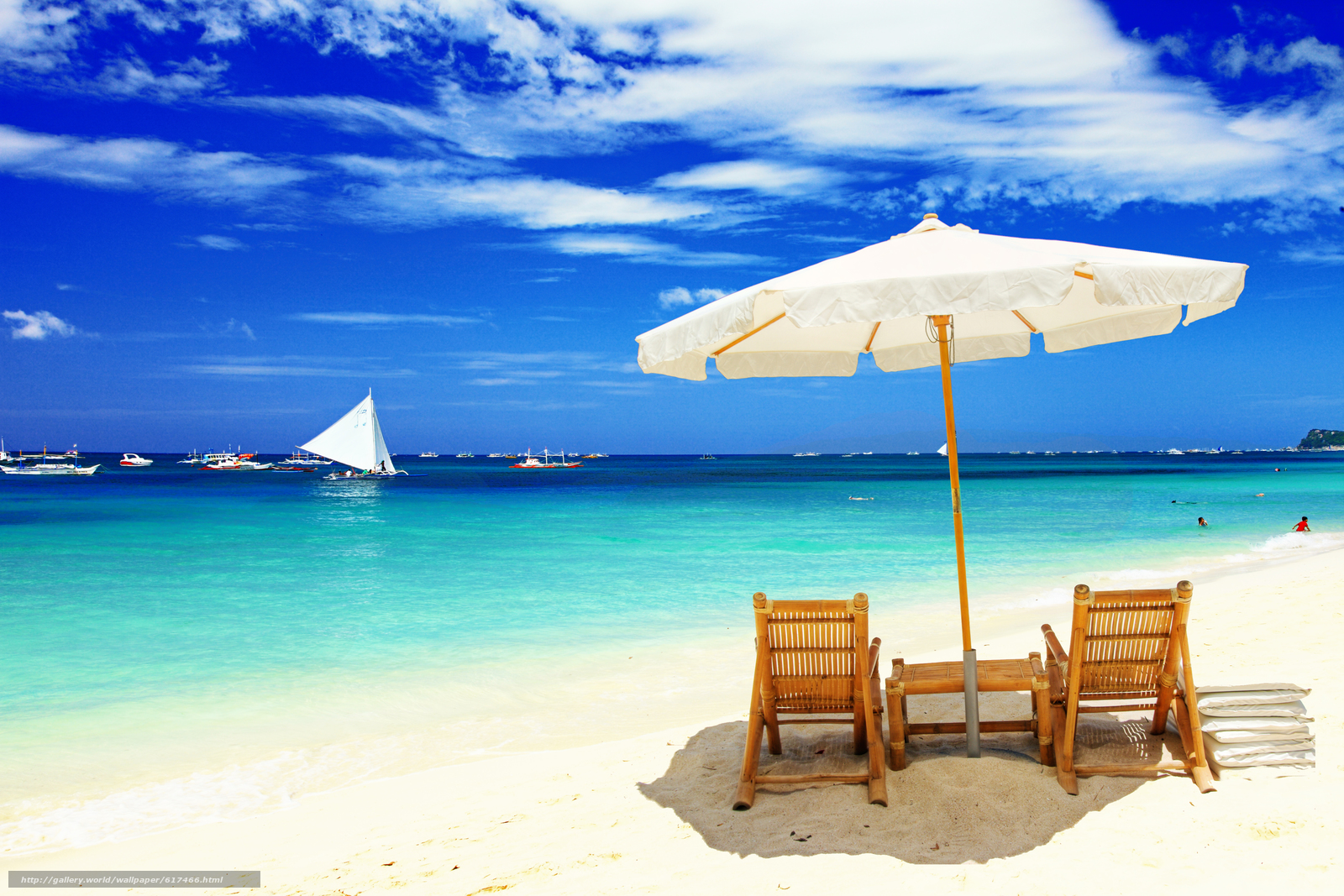 Download Wallpaper Chairs Beach Umbrella Boats Free Desktop In The Resolution 5616x3744 Picture No617466