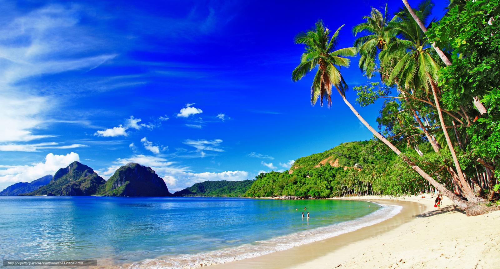 Скачать обои palms,  coast,  beach,  mountains бесплатно для рабочего стола в разрешении 6948x3744 — картинка №617470