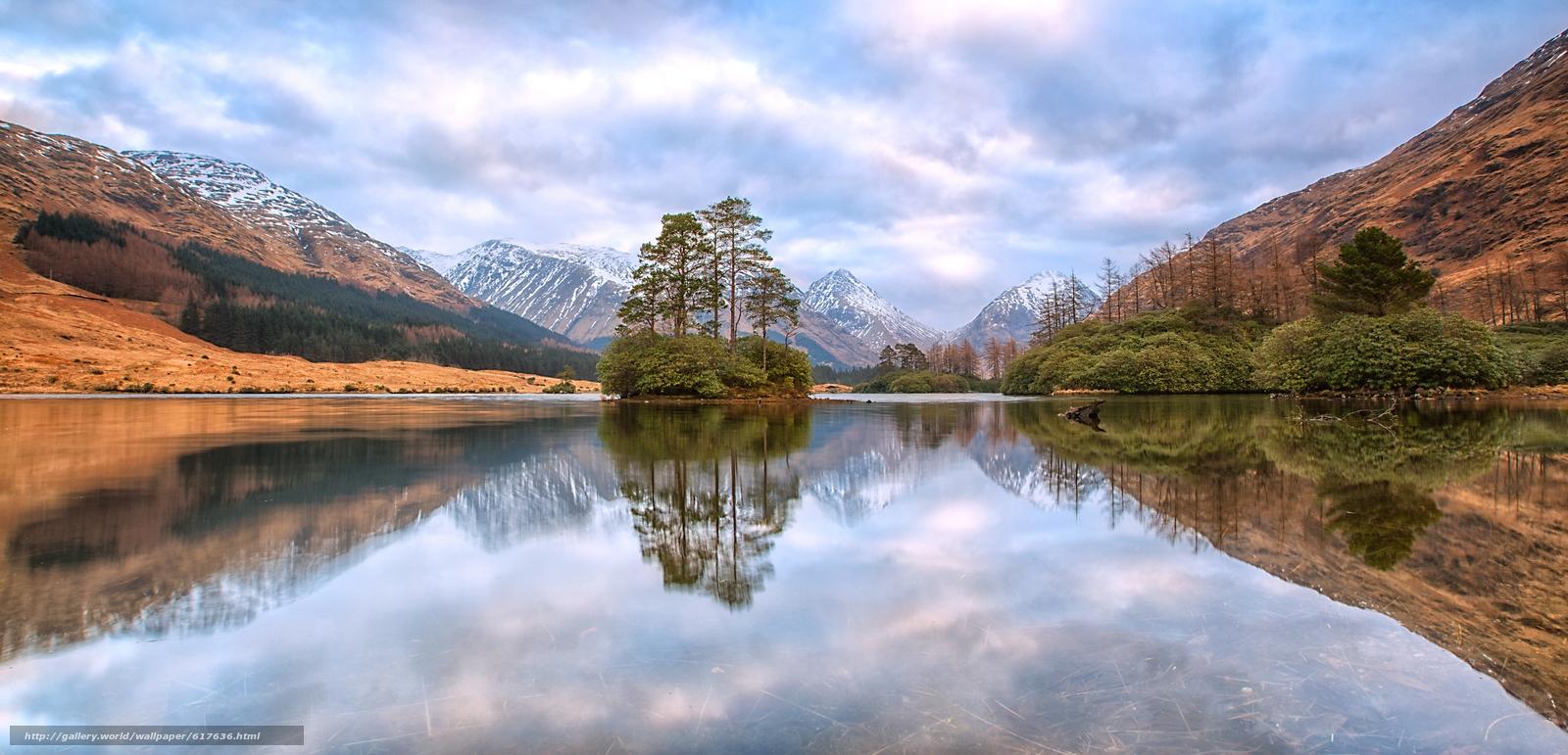 Download wallpaper Lochan Urr,  Scottish Highlands,  Glen Etive,  Scotland free desktop wallpaper in the resolution 6915x3331 — picture №617636