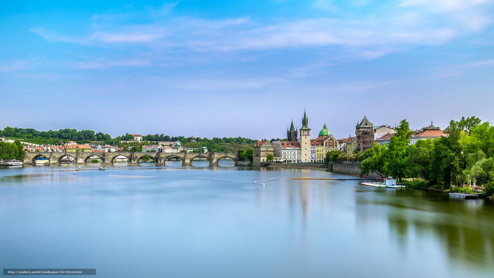 Download wallpaper Prague,  Czech Republic,  Charles Bridge,  Vltava river free desktop wallpaper in the resolution 2048x1152 — picture №617644