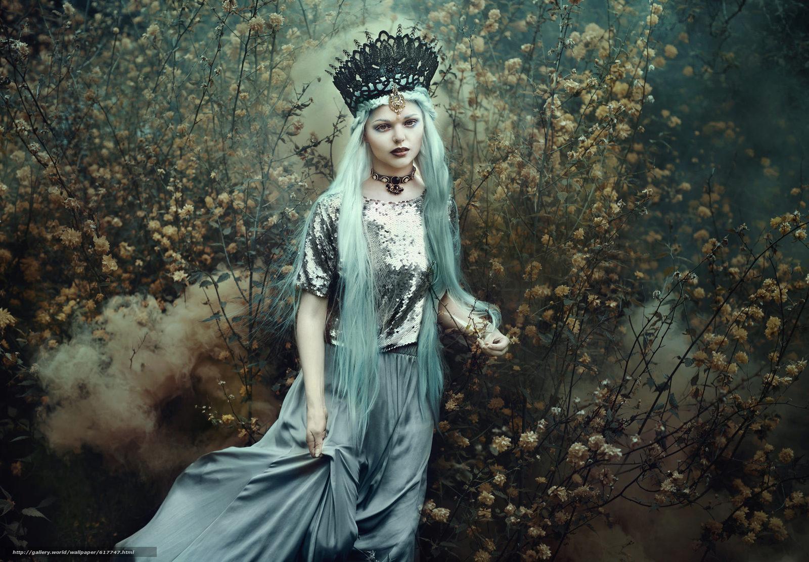 scaricare gli sfondi ragazza,  regina,  incoronare,  capelli blu Sfondi gratis per la risoluzione del desktop 2048x1423 — immagine №617747