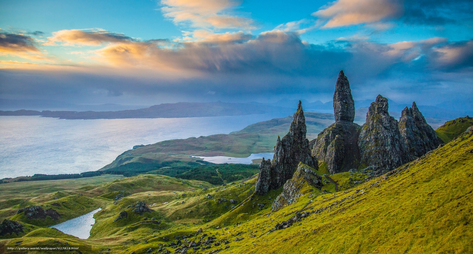 Download wallpaper Old Man of Storr,  Isle of Skye,  Scotland,  Old Man Rock-of-Storr free desktop wallpaper in the resolution 3350x1800 — picture №617818