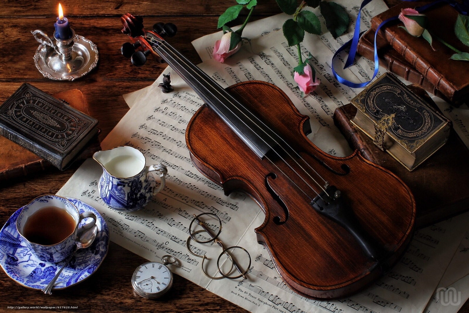Download wallpaper violin,  music,  Books,  glasses free desktop wallpaper in the resolution 1920x1280 — picture №617825