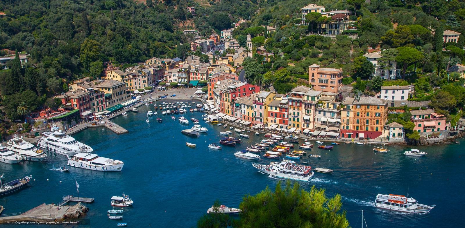 scaricare gli sfondi Portofino,  Liguria,  Italia,  Mar Ligure Sfondi gratis per la risoluzione del desktop 5616x2759 — immagine №617840