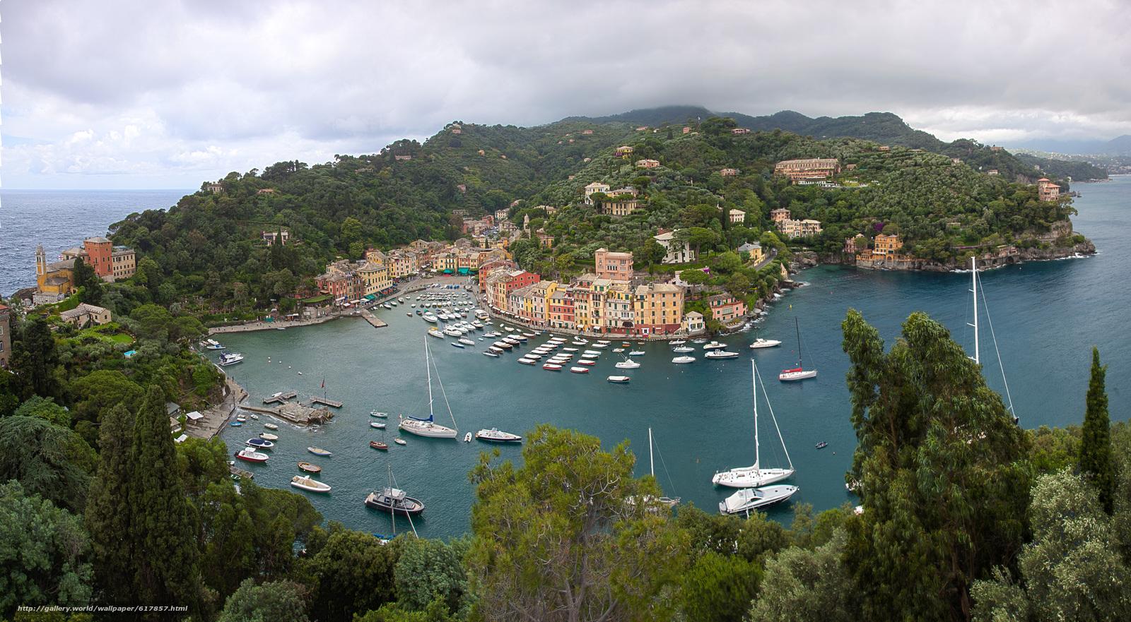 scaricare gli sfondi Portofino,  Liguria,  Italia,  Mar Ligure Sfondi gratis per la risoluzione del desktop 6000x3302 — immagine №617857