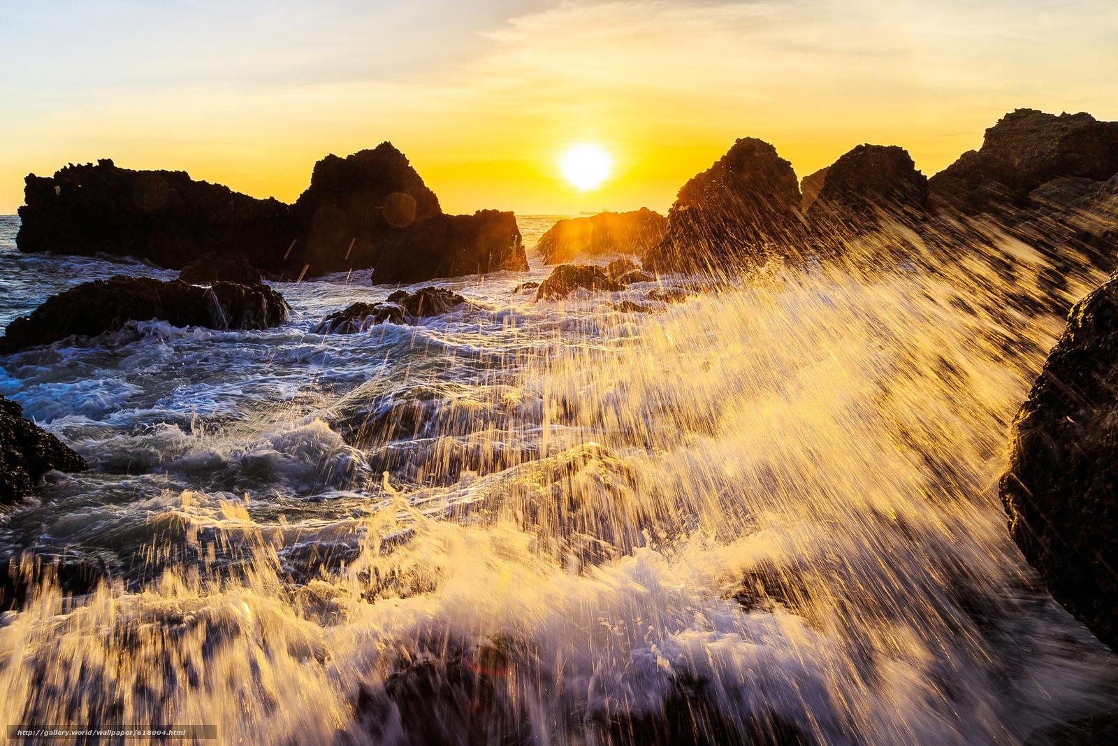 Скачать обои закат,  море,  скалы,  брызги бесплатно для рабочего стола в разрешении 1999x1333 — картинка №618004