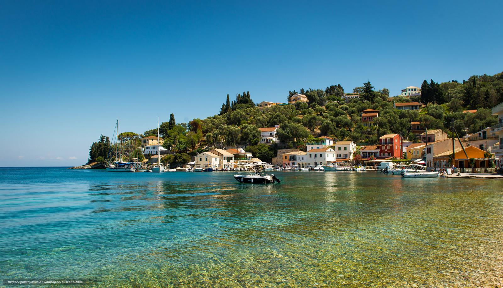 scaricare gli sfondi Longos,  Paxos,  Grecia,  Isole Ionie Sfondi gratis per la risoluzione del desktop 2048x1171 — immagine №618266