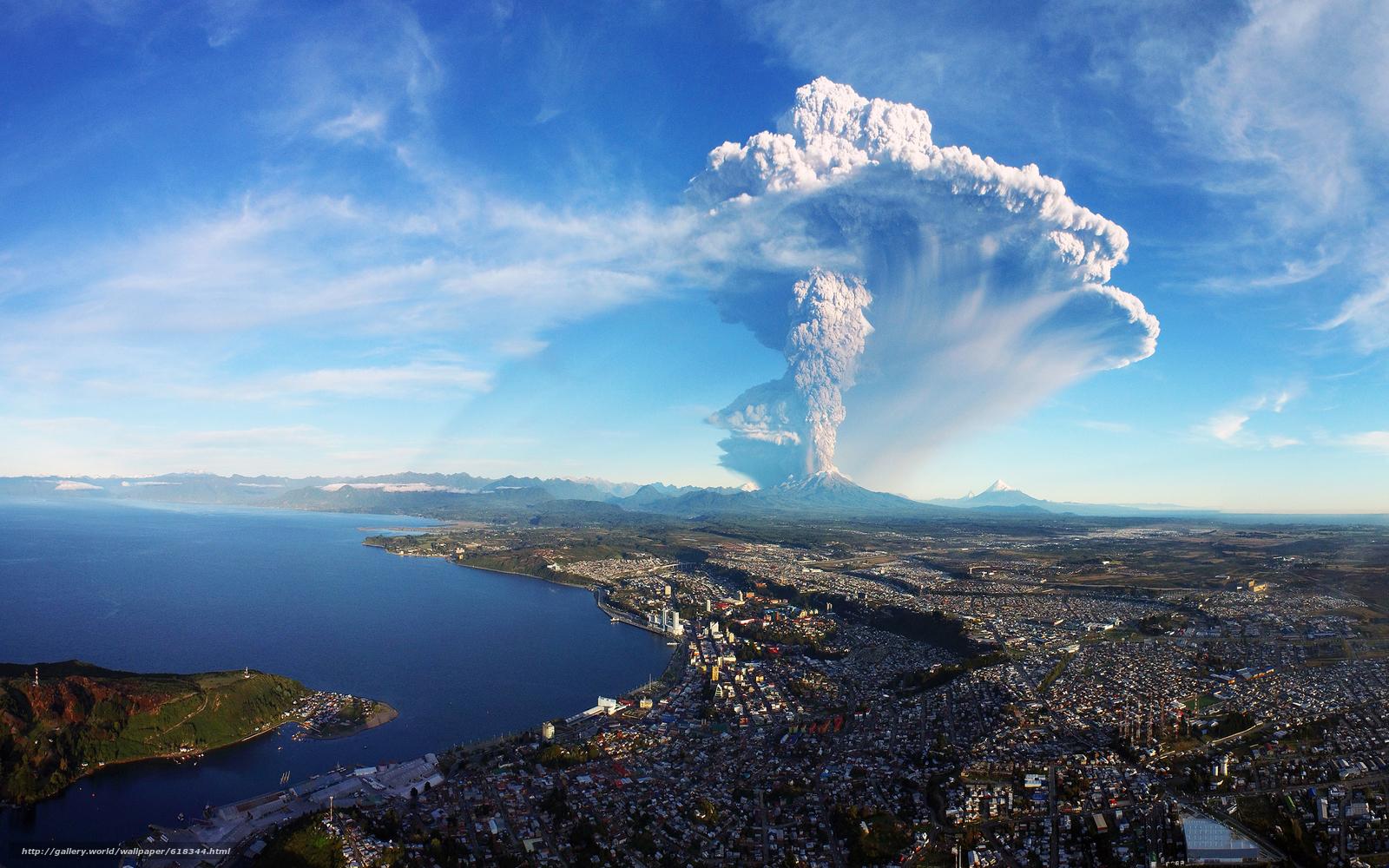 scaricare gli sfondi città,  vulcano,  esplosione,  paesaggio Sfondi gratis per la risoluzione del desktop 2880x1800 — immagine №618344