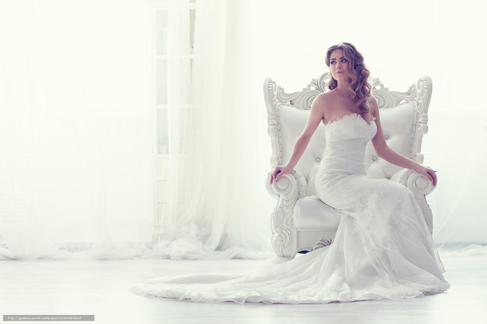 Скачать обои невеста,  свадебное платье,  платье,  кресло бесплатно для рабочего стола в разрешении 5259x3506 — картинка №618358