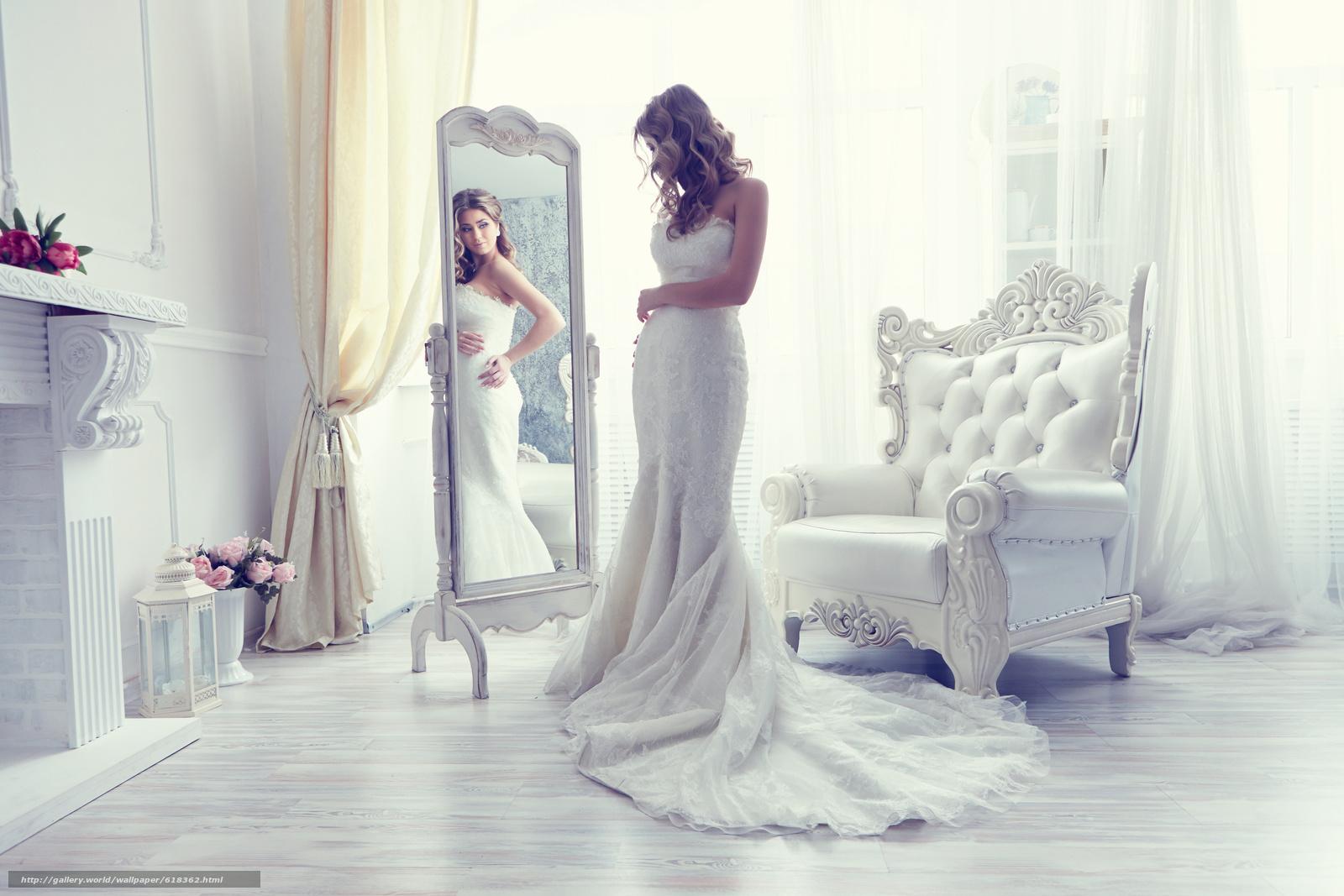 Скачать обои невеста,  свадебное платье,  платье,  зеркало бесплатно для рабочего стола в разрешении 5472x3648 — картинка №618362