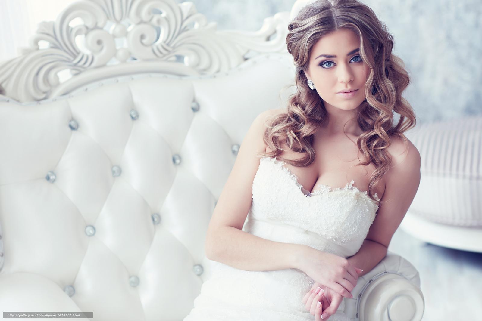 Скачать обои невеста,  платье,  декольте,  локоны бесплатно для рабочего стола в разрешении 5472x3648 — картинка №618363